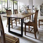 SAM® Stilvoller Esszimmertisch Imker aus Akazie-Holz, Baumkantentisch mit lackierten Beinen aus Roheisen, naturbelassene…