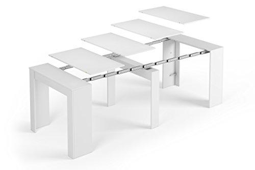 SERMAHOME Esstisch ausziehbar Konsole für Modell Function Medidas: 78 x 90 x 50 cm (cerrada) Glänzend Weiß