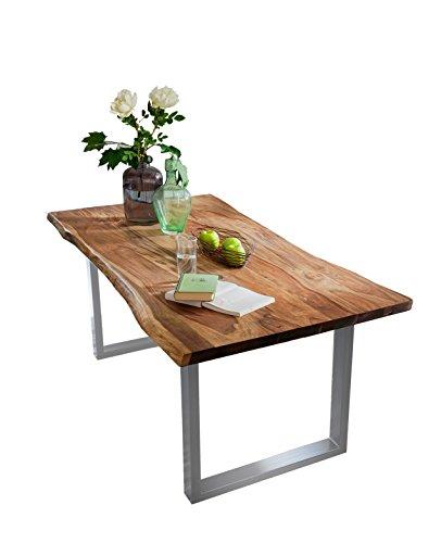 SIT-Möbel Live Edge 7103-99 Esszimmertisch mit Baumkante, massives Akazienholz, Nussbaumfarben / schwarzes Gestell,  200 x 100 x 77 cm