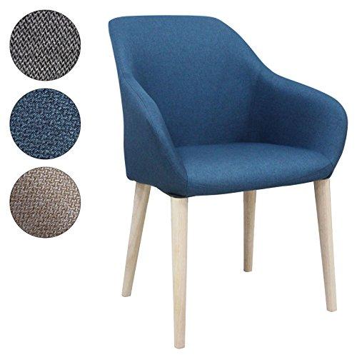 SVITA Esszimmerstuhl Polsterstuhl Stuhl Küchen-Stuhl Stoff Holz-Beine Retro Vintage Stil (Blau)