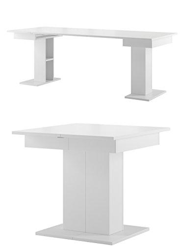 Tisch STAR Esstisch Säulentisch ausziehbar (Weiß matt)