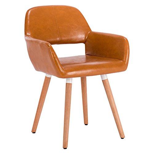 WOLTU® 1 Stück Esszimmerstuhl Küchenstuhl Wohnzimmerstuhl Design Stuhl Retro Stuhl Polsterstuhl mit Arm- und Rückenlehne…
