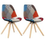 WOLTU® BH52mf-2 2 x Esszimmerstühle 2er Set Esszimmerstuhl mit Sitzfläche aus Leinen Design Stuhl Küchenstuhl Holz,, Patchwork, Mehrfarbig