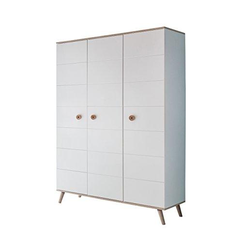 Wimex Kleiderschrank/ Drehtürenschrank Billund, (B/H/T) 125 x 202 x 55 cm, Weiß/ Absetzung Eiche Sägerau