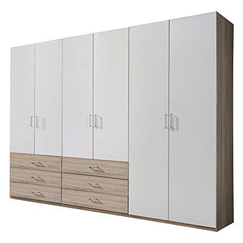 Wimex Kleiderschrank/ Drehtürenschrank Danzig, (B/H/T) 270 x 210 x 58 cm, Alpinweiß/ Absetzung Eiche Sägerau