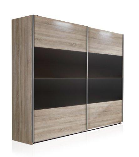 Wimex Kleiderschrank/ Schwebetürenschrank Vincenza, (B/H/T) 225 x 210 x 65 cm, Eiche Sägerau/ Absetzung Lavafarbig