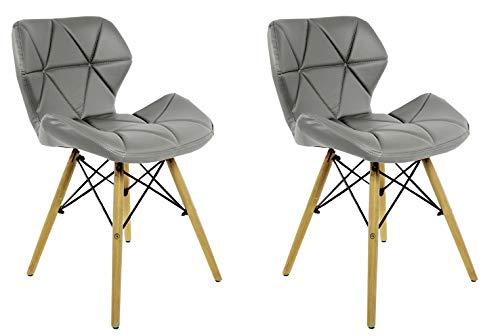 ZOLTA Modern Stuhl weiß Wohnzimmer Eco Leder Stuhl 86 x 50 x 45 cm (Grau, 2)