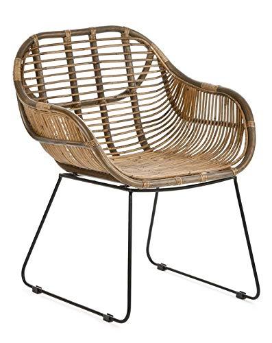 animal-design RATTANSTUHL Rattan-Stühle Korb-Stuhl Korb-Sessel - braun - Retro 50er Lounge Loft Esszimmer Garten Küche…