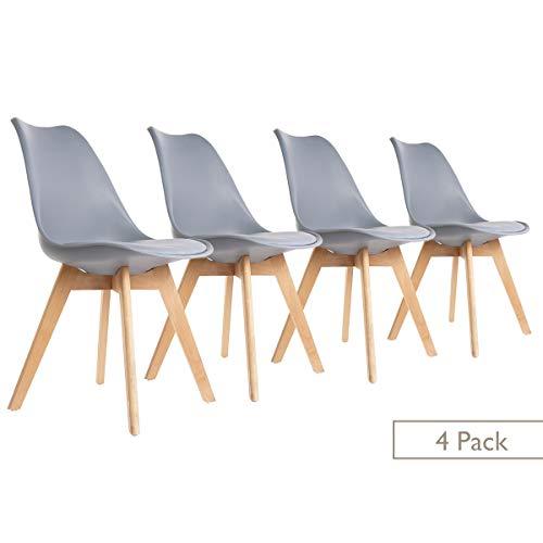 ease Esszimmerstühle 4er Set mit Massivholz Buche Bein Weichen Gepolsterten, Retro Design Gepolsterter Stuhl Küchenstuhl…