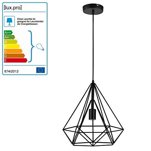 LED Hängeleuchte Industria Schwarz/Deckenleuchte (1 x E27 Sockel)(37cm x Ø 40cm) Hängeleuchte/Vintage/Retro Design…