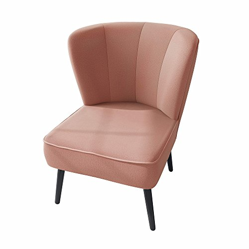myHomery Venlo Lounge Sessel Gepolstert - Polsterstuhl für Esszimmer & Wohnzimmer - Vintagesessel Ohne Armlehnen - Eleganter Retro Stuhl aus Stoff - Rosa