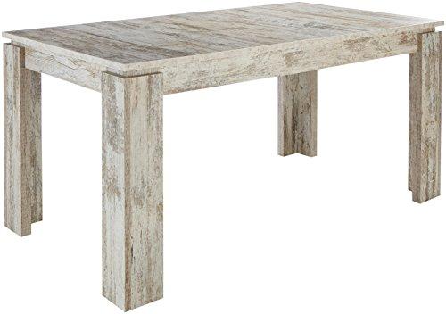 trendteam smart living Esszimmer Küchentisch, Esstisch Universal in Wotan Eiche mit Ausziehfunktion, Holzwerkstoff, Canyon White Pine, 160 x 77 x 90 cm