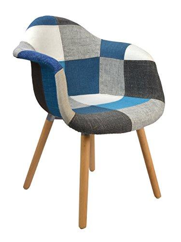 ts-ideen Design Klassiker Patchwork Sessel Retro 50er Jahre Barstuhl Wohnzimmer Büro Küchen Stuhl Esszimmer Sitz Holz Stoff bunt blau
