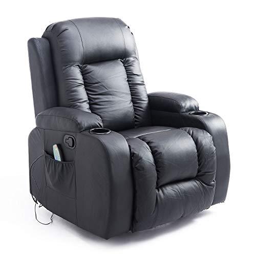 HOMCOM Massagesessel Fernsehsessel Relaxsessel TV Sessel Wippenfunktion Wärmefunktion mit Fernbedienung Liegefunktion…