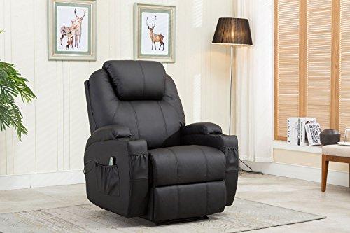 MCombo Massagesessel Fernsehsessel Relaxsessel mit Vibration+Heizung Schwarz