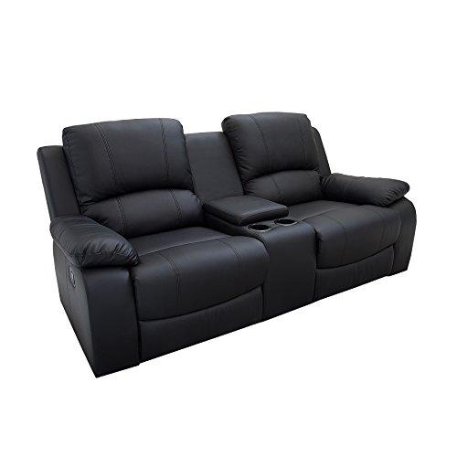Riess Ambiente 2er Kinosessel Hall of Fame schwarz Kunstleder Zweisitzer Sessel mit Getränkehalter Verstellbarer Fernsehsessel 2 Sitzer mit Liegefunktion