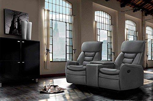 lifestyle4living Kinosessel 2-Sitzer, Kunstleder, grau | Hochwertiger 2er Cinema-Sessel/Sofa mit Getränkehalter & Liegefunktion für entspannte Heimkino-Abende
