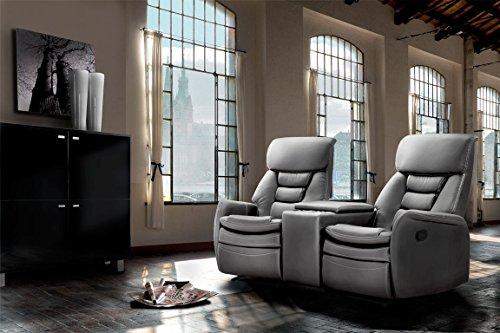 lifestyle4living Kinosessel 2-Sitzer, Kunstleder, hellgrau | Hochwertiger 2er Cinema-Sessel/Sofa mit Getränkehalter & Liegefunktion für entspannte Heimkino-Abende