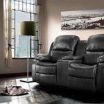 lifestyle4living Kinosessel 2-Sitzer, Kunstleder, schwarz   Hochwertiger 2er Cinema-Sessel/Sofa mit Getränkehalter & Liegefunktion für entspannte Heimkino-Abende