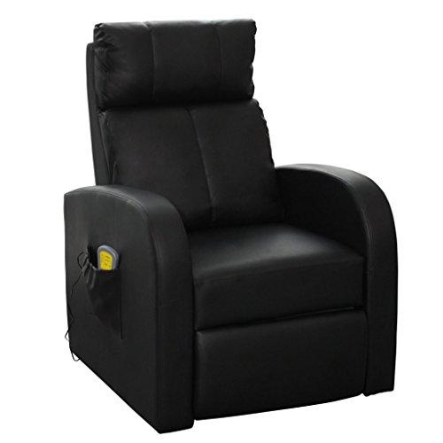 vidaXL Massagesessel Fernsehsessel TV Relaxsessel Massage mit Heizung schwarz