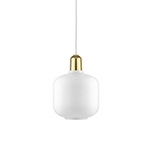 Normann Copenhagen - Pendelleuchte - Amp Lamp Small Brass EU - Weiß/Messing - H17 x Ø14 cm