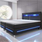 ArtLife Boxspringbett Norfolk 180 x 200 cm schwarz - LED-Streifen und Federkernmatratze