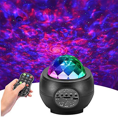 Led Sternenhimmel Projektor,Galaxy Projector Light mit Musikspieler& Wasserwellen&Bluetooth,Ferngesteuerte Nachtlichter…