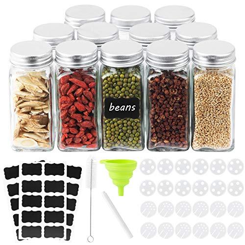 Piglagogo Gewürzgläser Set - 12 Gewürzstreuer - jeder Gewürzglas fasst 120ml,Gewürzstreuer in dem Gewürze Aufbewahrung…