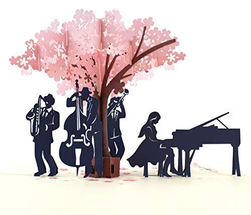 MOKIO® Pop-Up Karte – Jazz-Konzert unter blühendem Baum – 3D Geschenkkarte zum Geburtstag oder zur Hochzeit, Jubiläum…