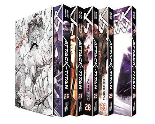 Attack on Titan, Bände 26-30 im Sammelschuber mit Extra: Atemberaubende Fantasy-Action im Kampf gegen grauenhafte…